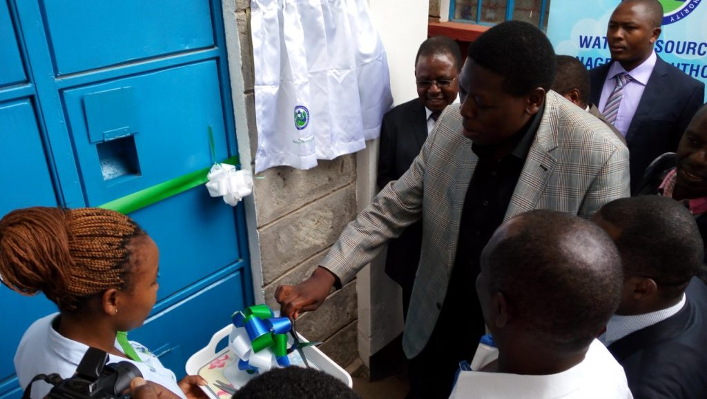 Hon. Eugene Wamalwa, former Cabinet Secretary, Ministry of Water and Irrigation, Official opening of one of WRA's Water Quality Testing Laboratory in Embu on 9th March 2016.