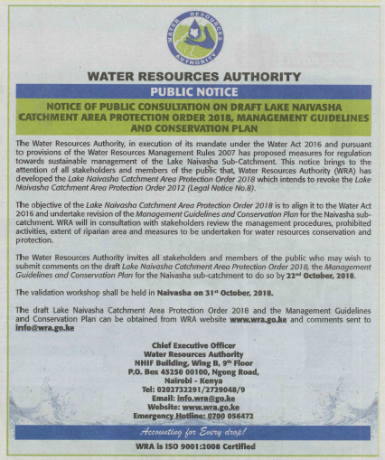 Public Notice on Lake Naivasha Catchment Area Protection