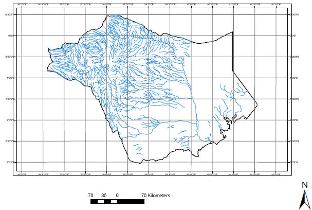 Map of the Tana surface drainage