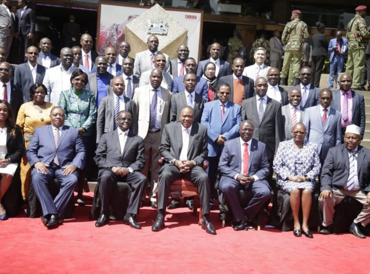 President Uhuru Kenyatta with top officials from the Ministry of Water and Sanitation during the Rapid Results Initiative (RRI) Launch at KICC, Nairobi